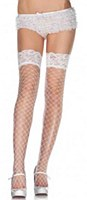 Lace Top Fence Net White Thigh Highs