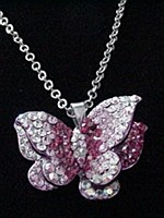 Pink Butterfly Rhinestone Necklace