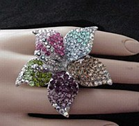 Large Rhinestone Flower Ring