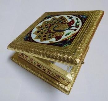 6''X6'' MUKHWAS BOX GOLD MEENA