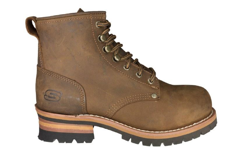 SKECHERS Cascades dark brown Mens Logger Boots 10.5