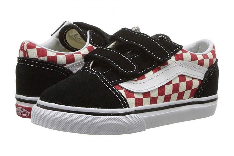 Vans Old Skool V Black Red Checkerboard Toddlers Classic vans style07.0