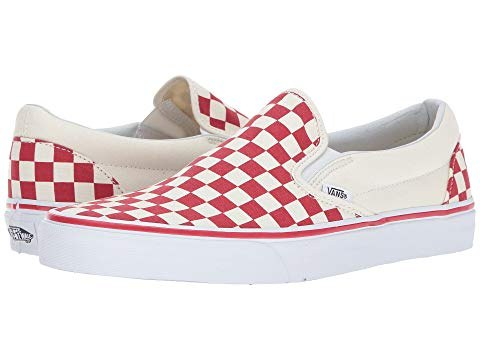 Vans Slip ons Classic Primary check racing red white ip On