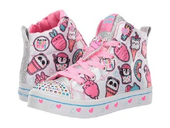 Skechers youth Charater Sweets Hi Top side zipper Light up Twinkle toes for kids 013