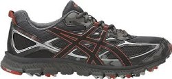 Asics Gel Scram 3 Dark Grey Black/Red Clay Mens Trail Running Shoes T6K2N-9590. 11.0