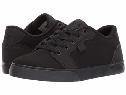 DC Anvil Black Black  Sleek DC  Classic Design leather and suede and Abrasion resistant Sticky Rubber Sole4.5
