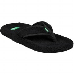 Sanuk Furreal Chill Cllasic Black Fuzzy lip Flops . discounted , Brand Name , Flip Flops , Stylish And Comfortable07.0