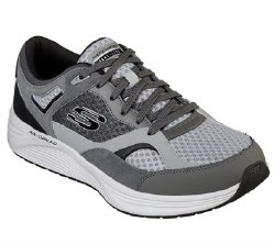 Skechers Alphabourne Grey/Black Soft sport suede upper mesh fabric panels for cooling effect lace up front athletic style jogger air cooled memory foam08.0