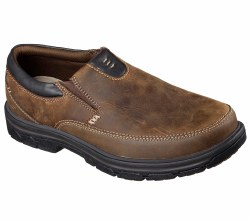 Skechers mens slip on casual dress shoes, look your best dressed up or down with added comfort in skechers relaxed fit. smooth oiled leather upper in a slip on casual comfort loafer moc08.0
