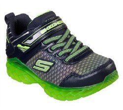 Skechers Blastistix kids light up rechargable shoes slip on strech laced sporty multi light up displays reflective uppers button on tongue activates ligths 012.