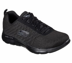 Go beyond your personal best in the SKECHERS Flex Appeal 2.0 - Break Free shoe. Soft athletic mesh fabric and synthetic upper in a lace up athletic training and walking sneaker with stitching accents and Air Cooled Memory Foam insole. 06.5