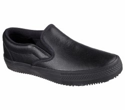 Safety meets cool casual style in the SKECHERS Work Relaxed Fit®: Gibson - Brogna SR shoe. Smooth leather upper in a slip on casual classic slip resistant work sneaker with stitching and overlay accents.06.5