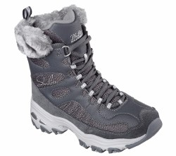 Skechers Womens D'Lites Boots Chalet Fur Warm ^ inch lach up Comfortable Boots06.5