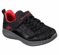 Skechers elite flex over surge black grey sleek cool sporty flexible comfortable running shoes for kidsKid