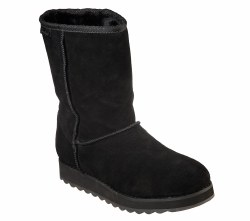 Skechers First Flurry Black Soft suede upper in a mid calf casual cool weather slip on boot07.0