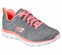 Find next-generation comfort and style in the SKECHERS Flex Appeal 2.0 shoe. Soft heathered jersey knit fabric upper in a lace up athletic sporty training sneaker with stitching accents and Air Cooled Memory Foam insole.07.0