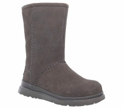 Skechers Just Because Charcoal  Leather Boot  Faux Fur Linded womens 48672/CCL 06.5