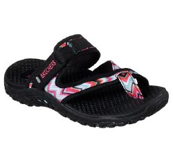 Skechers Beach style and comfort in the SKECHERS Reggae - Zig Swag sandal. Soft woven canvas fabric upper in a cross strap comfort thong sandal with an adjustable slide strap.07.5