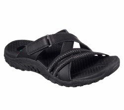 Hold more attention in style and comfort with the SKECHERS Reggae - Captive sandal. Smooth oiled leather and synthetic upper in a cross strap casual comfort slide sandal with adjustable strap and stitching detail.. 06.0