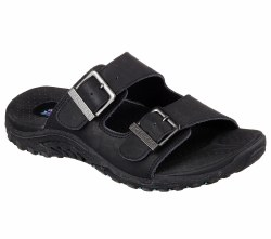 Get mellow and soothing comfort for your feet in the SKECHERS Reggae-Jammin sandal. Smooth oiled leather upper in a two strap slide sandal with stitching accents and dual adjustable metal buckles for added comfort. 05.0