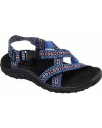 Gift yourself with sporty warm weather style and supportive comfort in the SKECHERS Reggae - Ribbons sandal. Soft web fabric upper in a strappy river style sandal with stitching accents, quick closure and supportive comfort midsole.. 07.0
