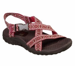 Gift yourself with sporty warm weather style and supportive comfort in the SKECHERS Reggae - Ribbons sandal. Soft web fabric upper in a strappy river style sandal with stitching accents, quick closure and supportive comfort midsole. . 07.0