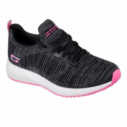 Skechers Bobs Squad Sizzle Black Pink Breathable Lightweight Premium Trainer09.0