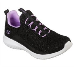 Skechers Ultra Flex Little Kids Training and Walking Shoes Black Lavendar Stykish and Comfortable . Durable Sneakers for Kids011.