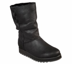 Skechers womens fuax fur boot smooth microfiber fabric upper with leather look finish in a slip on mid calf casual cool weather slouch boot with stiching and button details memory foam insole scotchguard treated upper for water resistance06.0