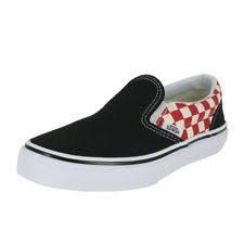 Vans Classic slip ons Youth sizes Black / red checkerboard side panels 012