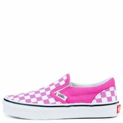 Vnas Classic slip on Rasberry true white kids sizes hey're original and cute. Stick with the checkered board look. • Canvas upper • Rubber outsole Fit: True to size010.