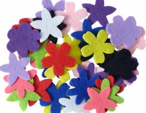 FLOWERS FELT 10 COLOURS ASST
