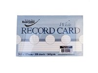 RECORD CARDS 6X4 WHITE RULED
