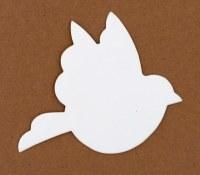 BIRD SHAPE WHITE CARD 15PK