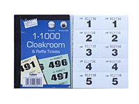 CLOAKROOM TICKETS 1-1000 WHITE