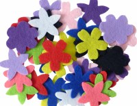 FLOWERS FELT 10 COLOURS ASST