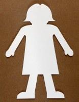 GIRL SHAPE WHITE CARD 12 PACK