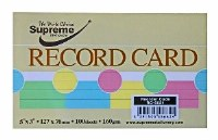 RECORD CARDS 5X3 COLOURS 100PK