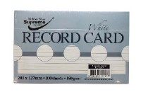 RECORD CARDS 8X5 WHITE RULED