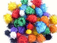 GLITTER POMPOMS ASSORTED