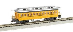 HO Gauge 1860-1880 Wood Coach Painted Yellow & Unlettered - 160-13403
