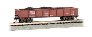N Gauge 40' Steel Gondola w/Load Atchison, Topeka & Santa Fe #64999 - 17251