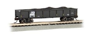 N Gauge 40' Steel Gondola w/Load Burlington Northern 500043 - 17252