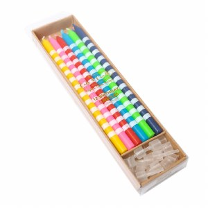 Bright Striped Candles (12)