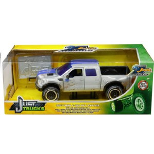 1:24 Scale 2011 Ford F-150 SVT Raptor Pickup Truck Raw Metal w/Blue Stripes (Dirty Version) - JA31086