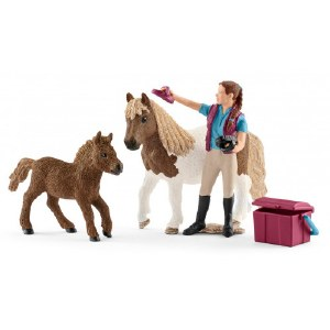 Stablehand With Shetland Ponies - 42362