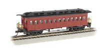 HO Gauge 1860-1880 Wood Coach Painted Red & Unlettered - 13402