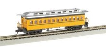 HO Gauge 1860-1880 Wood Coach Painted Yellow & Unlettered - 13403