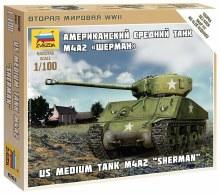 1:100 Scale M-4 Sherman US Medium Tank - 6263