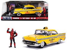 1:24 Scale 1957 Chevrolet Bel Air Taxi Yellow w/Deadpool Figure - 30290